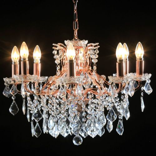 Antique French Cut Glass Copper and Gold Chandelier 8 arm
